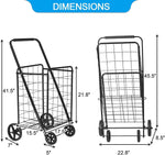 Folding Grocery Shopping Cart with Durable Wheels Collapsible Large Metal Utility Cart for Daily use, Black