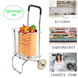 Bosonshop Shopping Cart for Groceries Lightweight Folding Laundry Utility Cart Dishes Dolly