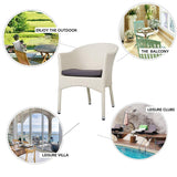 Bosonshop Outdoor Dining Rattan Chairs Patio Garden Furniture with Seat Cushions, White