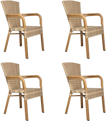 Patio Outdoor/Indoor Dining Chairs, Handmade PE Rattan Wicker Chair with Aluminum Alloy Frame, Set of 4, Black and Beige