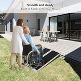 3ft Wheelchair Ramp (20LBS), Aluminum Alloy Ramp, Single Fold Portable Handles & Anti-Slip Carpet for Doorways, Stairs, Mobility Scooter, Porch