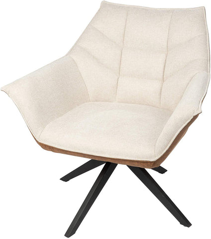 Set of 2 Swivel Armchair Accent Fabric Modern Chair With Upholstered Seat & Metal Leg, Beige