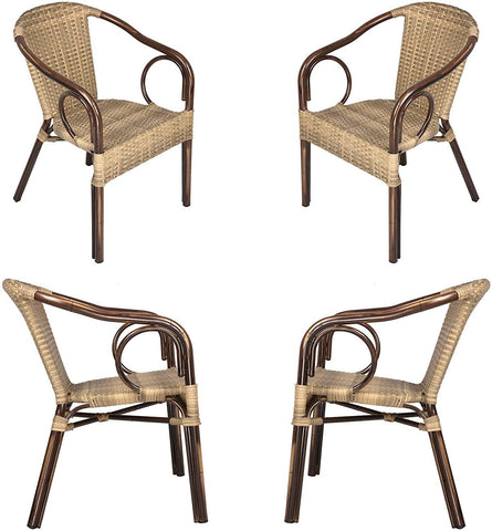 Outdoor Patio Dining Chairs, Handmade PE Rattan Wicker Armchair with Aluminum Alloy Frame, Set of 4, Brown and Beige