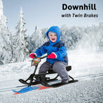 Snow Racer Sled with Steering Bicycle Handle and Twin Brakes, Kids Teens Winter Sport Ski Sled Slider Board for Downhill and Uphill