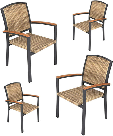 Outdoor PE Rattan Dining Chairs with Aluminum Alloy Frame for Outdoor/Indoor Garden, Courtyard, Porch, Set of 4