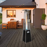 Outdoor Patio Heater, Pyramid Standing Gas LP Propane Heater With Wheels 87 Inches Tall 42000 BTU For Commercial Courtyard (Black)