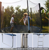 10' Round Trampoline Combo Bounce Jump Trampoline With Safety Enclosure And Spring Pad