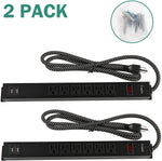 2 Pack Long Power Strip Surge Protector, 6 Metal Power Outlets 2 USB Ports, 6 ft Long Extension Cord