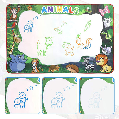 Water Doodle Mat 59 x 39 inches Extra Large for Toddlers Kids Animal Water Drawing Pad Learning Toys Age 3+