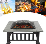 Outdoor 32'' Iron Wood Burning Square Fire Pit Table Top Set For Camping, Picnic, Backyard, Garden