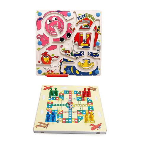 Bosonshop 2 In 1 Toddler Maze Puzzle Fun Farm +Flying Chess Board Game Balance Training Toys for Kids