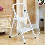Bosonshop Steel Folding Portable 2 Steps Ladder Step Stool with 330lbs Capacity White