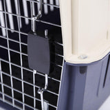 Bosonshop Plastic Cat & Dog Carrier Cage with Chrome Door Portable Pet Box Airline Approved, Blue, Small