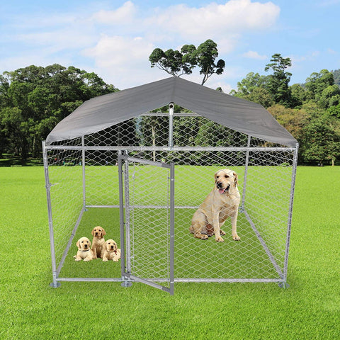 Outdoor Metal Dog Playpen For Your Puppy, Exercise Pens For Puppies, Chain Link Dog Kennel, 6.5' x 6.5' x 5'
