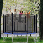 12 FT Trampoline For Kids And Family Outdoor Trampoline With Safety Enclosure Net, Ladder And Spring Cover - Backyard Bounce Jump Have Fun