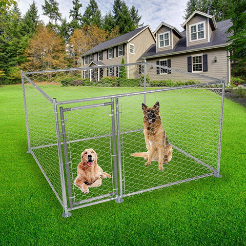 Outdoor Metal Dog Playpen For Your Puppy, Exercise Pens For Puppies, Chain Link Dog Kennel, 6.5' x 6.5' x 4'