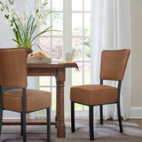 Classic Dining Chair Set of 2, Modern Style Family Leisure Chair with Stainless Steel Legs, PU Leather High Back Side Chair, Coffee