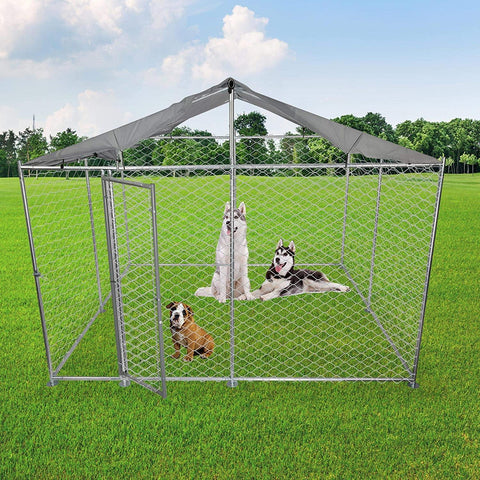 Outdoor Metal Dog Playpen For Your Puppy, Exercise Pens For Puppies, Chain Link Dog Kennel, 10' x 10' x 7.5'