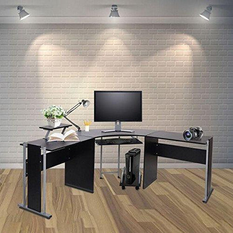 "Bosonshop 72"" L-Shaped Office Desk Corner Computer Desk Laptop Study Table Workstation with CPU Stand PC Keyboard Tray"