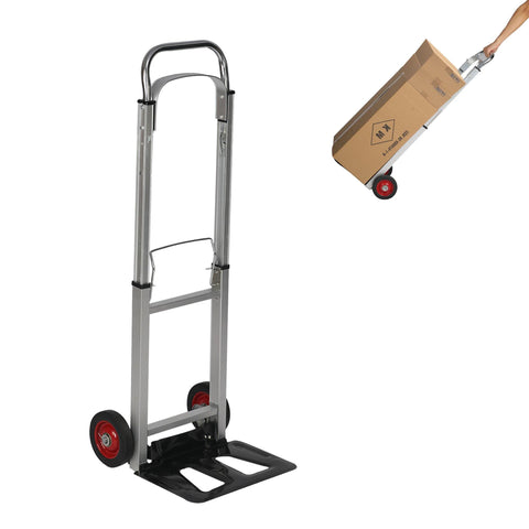 Hand Truck Dolly Portable Folding Compact Trolley Heavy-duty Aluminum Luggage Cart with 2 Wheels
