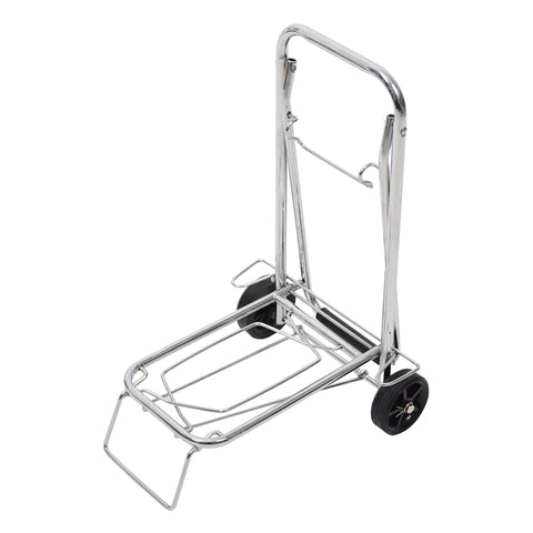 Bosonshop Aluminum Folding Hand Truck Portable Fold Up Dolly with Wheels for Indoor Outdoor Travel Shopping Office, 55lbs (Sliver)