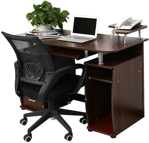 Desktop Computer Desk with Spacious Desktop Workspace Great for Your Home Office Pull-Out Keyboard Tray and Drawers