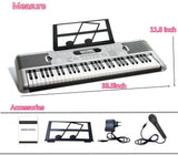 Bosonshop 61 Key Music Electronic Keyboard Electric Digital Piano Organ with Piano Stand (Gray)