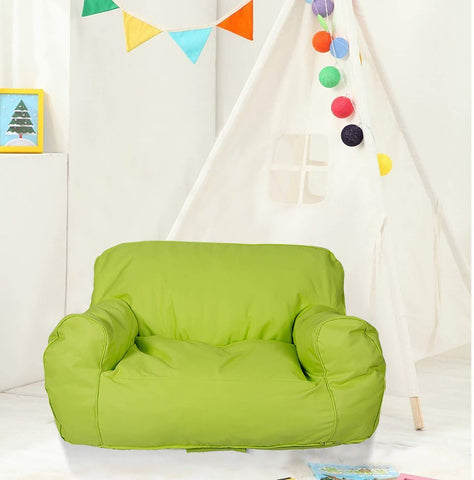 "Bosonshop Mini Lounger Sofa, Bean Bag Chair Self-Rebound Sponge Double Child Seat - 35.4"" x 19.7"" x 19.7"" Green"