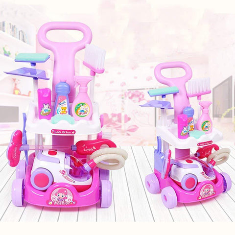 Bosonshop Pretend Play Toys Vacuum Cleaner Playset Cleaning Trolley Cart for Kids