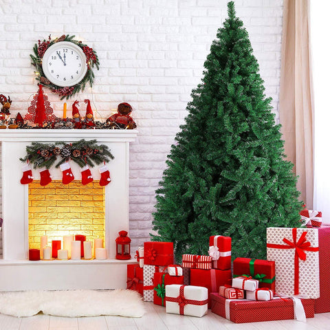 Bosonshop 9 FT High Artificial Christmas Pine Tree Fake Xmas Tree 1000 Tip Full Tree W/ Solid Metal Stand