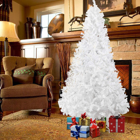 Bosonshop 10' Premium Spruce Artificial Christmas Tree w/Metal Stand, White