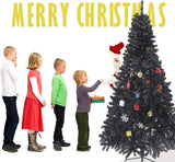 Bosonshop 8' Premium Artificial Christmas Tree with Solid Metal Stand, Festive Indoor and Outdoor Decoration, Black