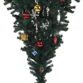 5 Ft Upsidedown Premium Artificial Christmas Tree with Solid Metal Stand, Festive Indoor and Outdoor Decoration