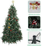 Bosonshop 7 ft Artificial Christmas Tree Snow Flocked 1390 Tips Pine Decoration with Red Cheery