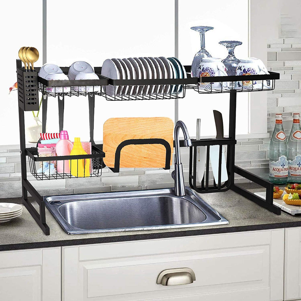 Over Sink Dish Drying Rack Stainless Steel Kitchen Supplies Storage Sh Bosonshop