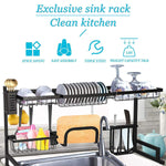 "Over The Sink Dish Drying Rack Stainless Steel Kitchen Supplies Storage Shelf Drainer Organizer, 35"" x 12.2"" x 20.4"""