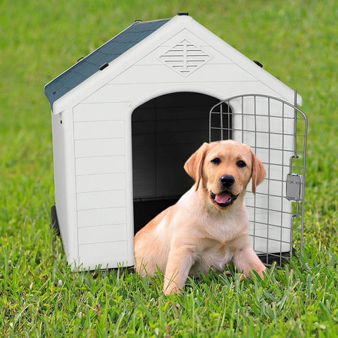 "Medium Plastic Outdoor Dog House with Door for Pet Weatherproof Kennel, 31.5""L x 29""W x 32""H"