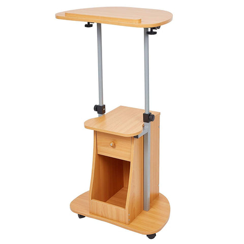 "26""- 43"" Adjustable Height Notebook Laptop Table Cart with Swivel Top and Storage Rolling Presentation Stand"