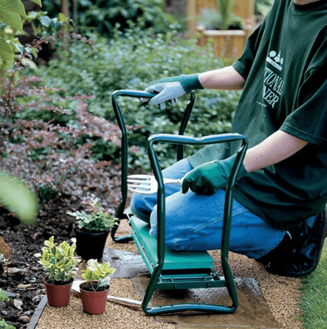 Luckyermore Garden Kneeler & Seat Folding Multi-Functional Steel Garden Stool with Tool Bag EVA Kneeling Pad