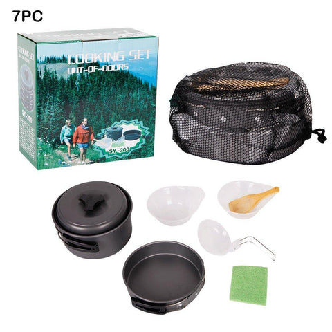 7 Pcs Outdoor Cooking Set Portable Lightweight Camping Kitchen Picnic Cookware Bowl Pot Pan for Hiking Backpacking