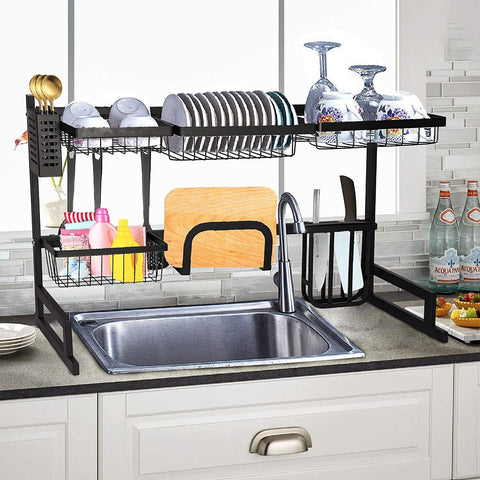 Over Sink Dish Drying Rack Stainless Steel Kitchen Supplies Storage Shelf Multifunctional Tableware Drainer Organizer