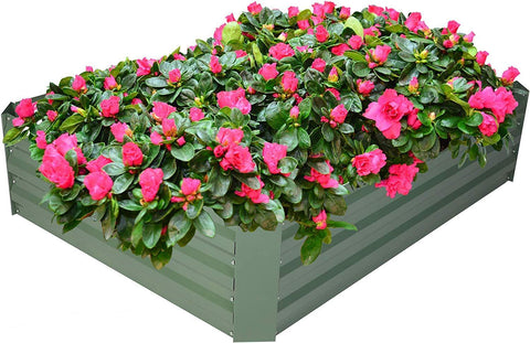 Raised Garden Bed Galvanized Planter Box Anti-Rust Coating Planting Vegetables Herbs and Flowers for Outdoor, Rectangle