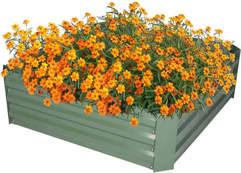 Raised Garden Bed Steel Planter Box Galvanized Anti-Rust Coating Planting Vegetables Herbs and Flowers for Outdoor, Square