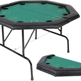 Folding Texas Poker Table Top Casino Game for 8 Players, Green