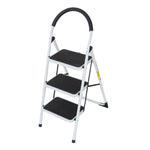 Bosonshop Portable Anti-Slip 3 Step Ladder Folding Lightweight Steel Step Stool Platform 330LBS Capacity