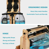 Water Rowing Machine Wooden Indoor Rower Machine with LCD Monitor for Home Full Body Exercise