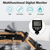 Water Rower Rowing Machine, Wooden Indoor Row Machine with LCD Monitor for Home Full Body Exercise
