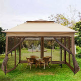 10' x 10' Pop Up Canopy Gazebos Tent with Mesh Sidewall Height Adjustable Outdoor Party Tent