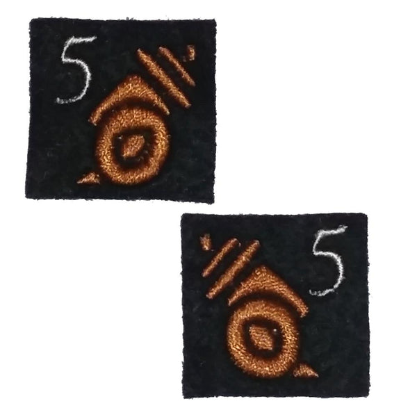 "First Tea Company ""Tesla Artillery 5th Batt"" Embroidered Pips Pair-Doctor Geof"