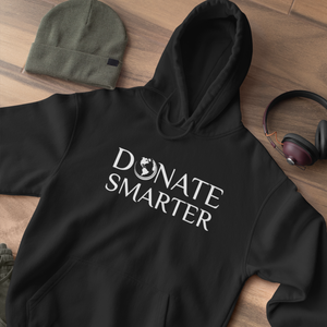 Donate Smarter White Print on Hoodie